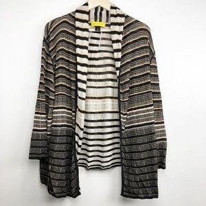St. John Sweater Large Open Front Cardigan Stripe